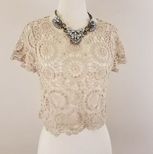Crochet / Lace Crop Top Shirt  [Tops]